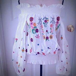 Tops - 🆕️Cotton Smocked Off the Shoulder Embroidered Top
